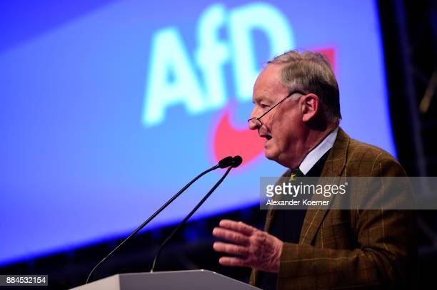 Alexander Gauland of the rightwing Alternative for Germany speaks during his election speech as cochairman during the AfD federal congress at the...