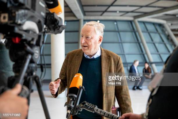 Alexander Gauland one of the two coheads of the Bundestag faction of the rightwing Alternative for Germany political party talks to the media prior a...