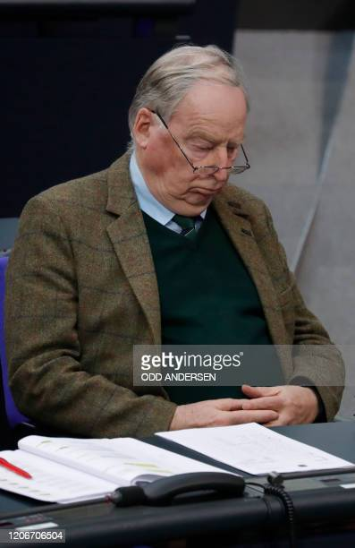 Alexander Gauland parliamentary group coleader of Germany's farright Alternative for Germany party attends a session of the Bundestag in Berlin on...