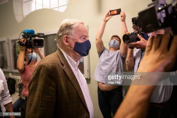 Alexander Gauland, parliamentary group co-leader of Germany's far-right Alternative for Germany party, arrives for a hearing in an appeal by right...
