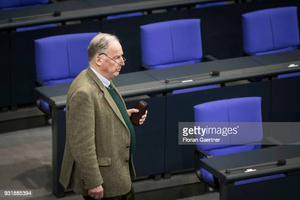 Alexander Gauland Parliamentary group coleader of the rightwing Alternative for Germany political party is pictured before the swearingin ceremony of...