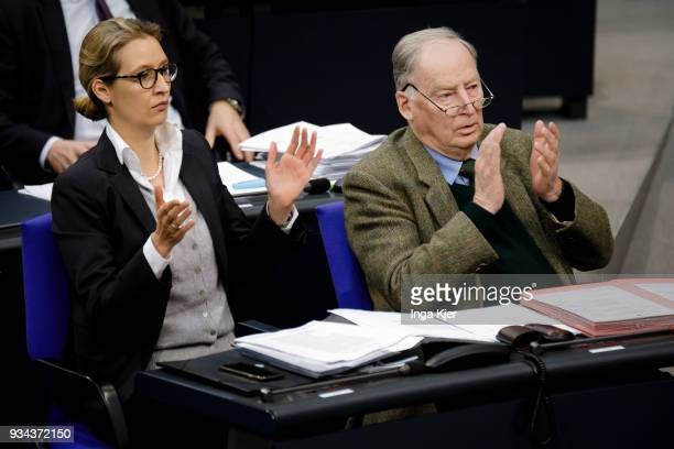 Alexander Gauland Parliamentary group coleader of the rightwing Alternative for Germany political party and Alice Weidel Parliamentary group coleader...