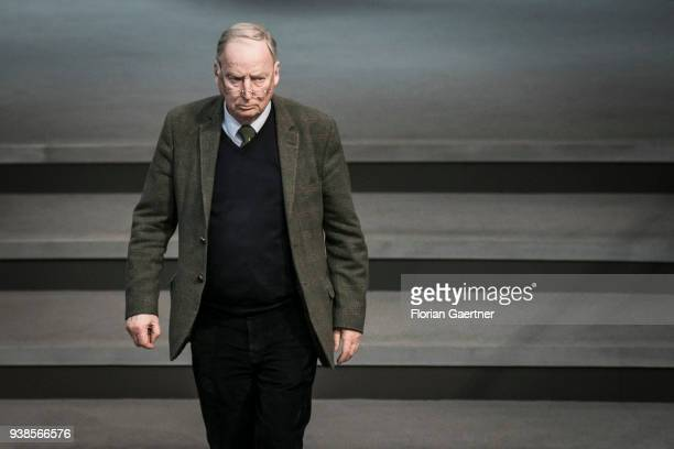 Alexander Gauland Parliamentary group coleader of the rightwing Alternative for Germany political party arrives at the meeting of the Bundestag on...