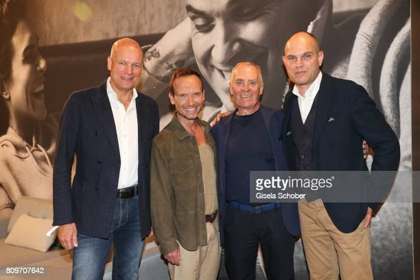 Alexander Gedat CEO of MarcO'Polo Bernd Keller Werner Boeck Owner of MarcO'Polo and Juergen Hahn CFO of MarcO'Polo pose for a picture during the...