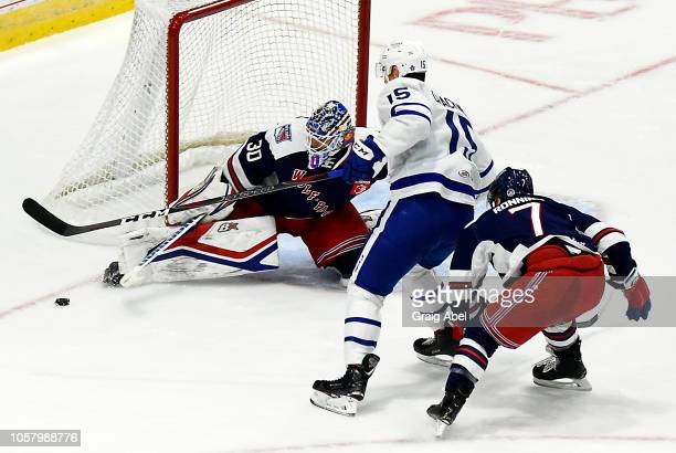 Alexander Georgiev of the Hartford Wolf Pack stops a shot against Adam Cracknell of the Toronto Marlies during AHL game action on October 20 2018 at...