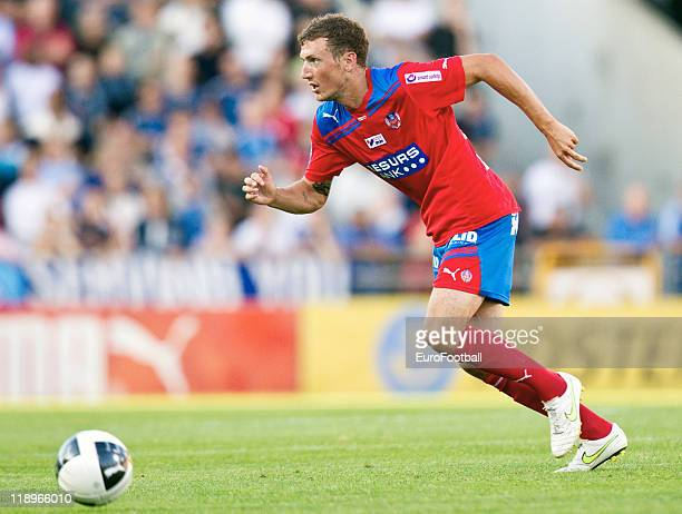 Alexander Gerndt of Helsingborgs IF in action during the Swedish Allsvenskan League match between Helsingborgs IF and Djurgardens IF held at the...