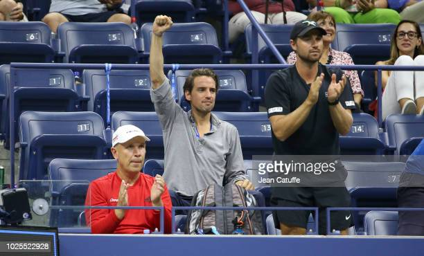 Alexander Gilkes new boyfriend of Maria Sharapova of Russia along with her coach Thomas Hogstedt attend her match on day 4 of the 2018 tennis US Open...