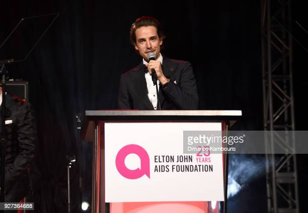 Alexander Gilkes speaks during the 26th annual Elton John AIDS Foundation Academy Awards Viewing Party sponsored by Bulgari celebrating EJAF and the...
