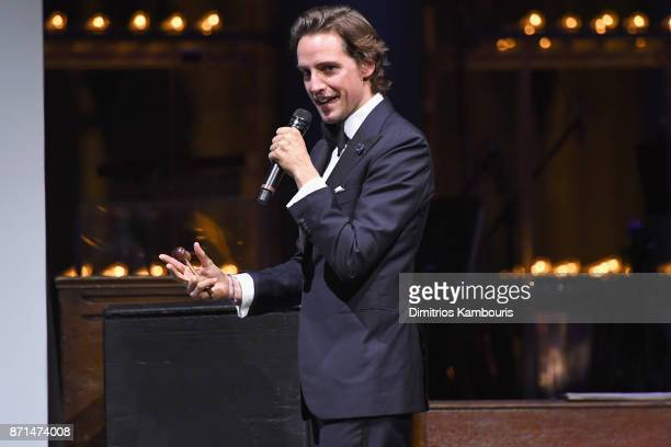 Alexander Gilkes speaks onstage at the Elton John AIDS Foundation Commemorates Its 25th Year And Honors Founder Sir Elton John During New York Fall...