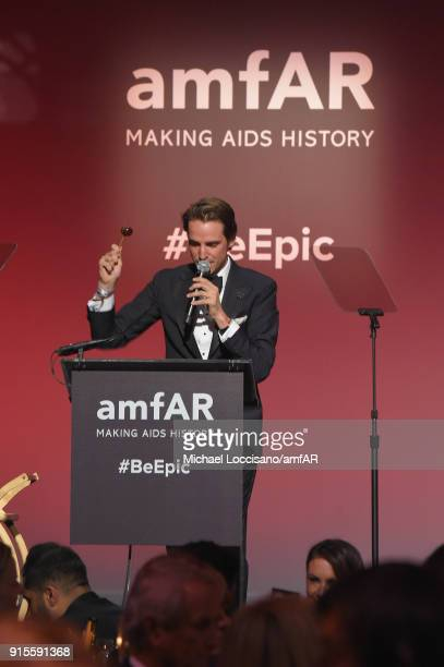 Alexander Gilkes speaks onstage during the 2018 amfAR Gala New York at Cipriani Wall Street on February 7 2018 in New York City