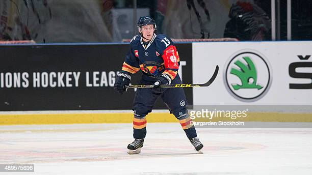 Alexander Glimtoft of Djurgarden during the Champions Hockey League round of thirty-two game between Djurgarden Stockholm and Vaxjo Lakers at Hovet...