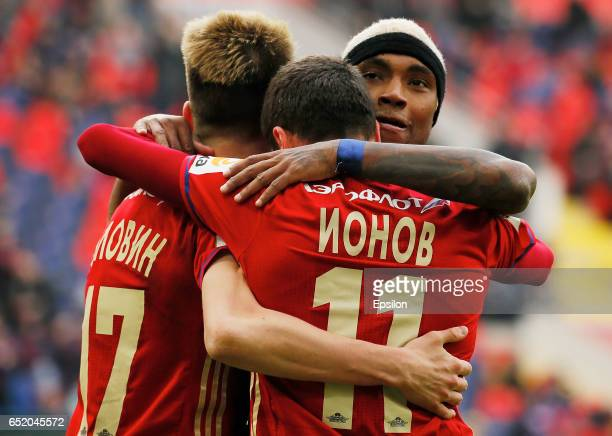 Alexander Golovin Alexey Ionov and Vitinho of PFC CSKA Moscow celebrate a goal during the Russian Premier League match between PFC CSKA Moscow and FC...
