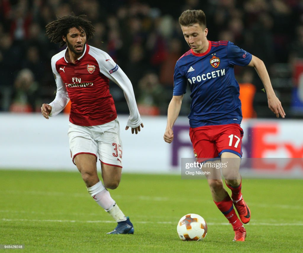 Alexander Golovin of PFC CSKA Moskva vies for the ball with Mohamed Elneny of Arsenal FC during the UEFA Europa League quarter final leg two match between PFC CSKA Moskva and Arsenal FC at CSKA Arena stadium on April 12, 2018 in Moscow, Russia.