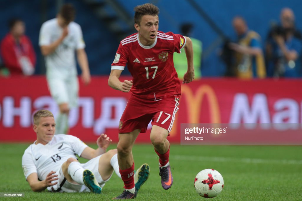 Alexander Golovin of the Russian national football team vie for the ball during the 2017 FIFA Confederations Cup match, first stage - Group A between Russia and New Zealand at Saint Petersburg Stadium on June 17, 2017 in St. Petersburg, Russia.