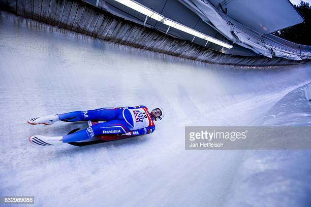 Alexander Gorbatsevich of Russian Federation competes in the first heat of the Men's Luge competition during the third day of the FILWorld...
