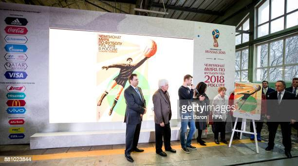 Alexander Gorbenko Evgeny Lovchev Igor Akinfeev Fatma Samoura Valentina Yashina and Vitaly Mutko adresse the media during the FIFA World Cup Russia...