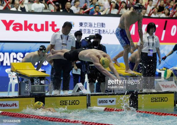 Alexander Graham and Jack Cartwright of Australia compete in the Men's 4x200m Freestyle Relay on day two of the Pan Pacific Swimming Championships at...