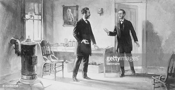 Alexander Graham Bell and Thomas Watson at 5 Exeter Place Boston in March 1887