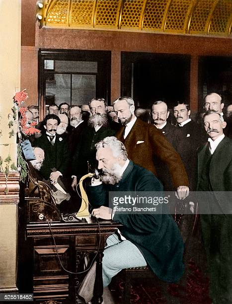 Alexander Graham Bell at the New York end of the first longdistance telephone call to Chicago in 1892