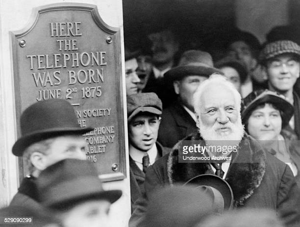 Alexander Graham Bell at the unveiling of a plaque commemorating his1876 invention of the telephone Boston Massachusetts 1916