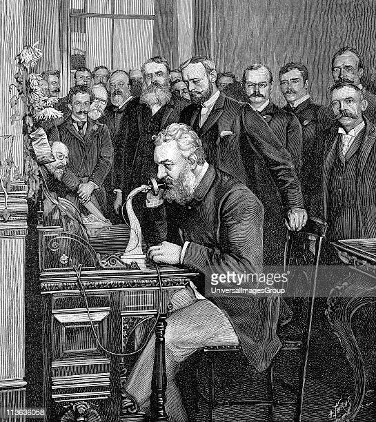 Alexander Graham Bell Scottishborn American inventor patented telephone 1876 Bell inaugurating 1520 km telephone link between New York and Chicago 18...