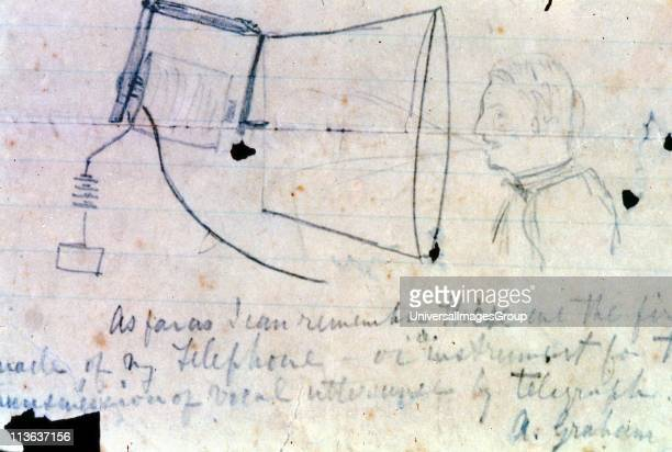 Alexander Graham Bell Scottishborn American inventor Sketch of his telephone of 1876