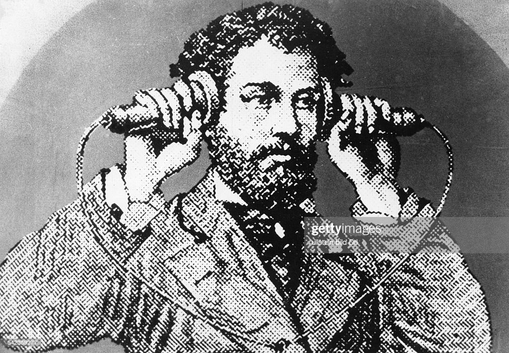 Alexander Graham Bell with the firrst telephone - about 1876 : News Photo