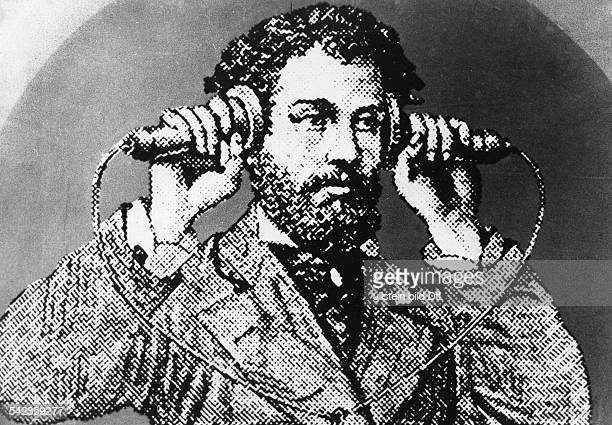 Alexander Graham Bell with the firrst telephone about 1876