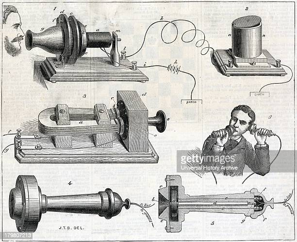 Alexander Graham Bell's telephone Engraving 1877