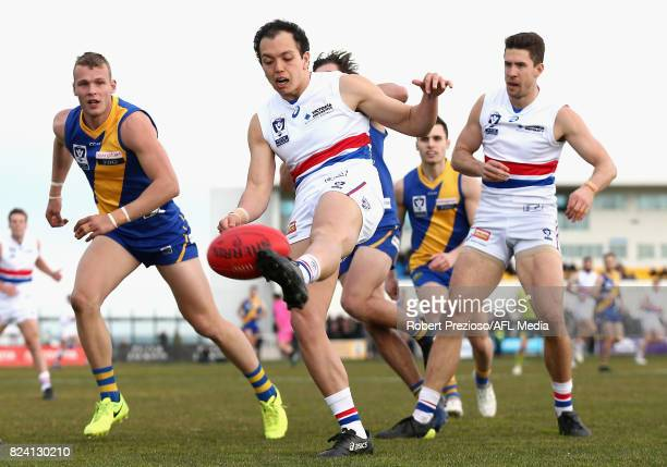 Alexander Greenwood of Footscray kicks during the round 15 VFL match between Williamstown and Footscray at Burbank Oval on July 29 2017 in Melbourne...