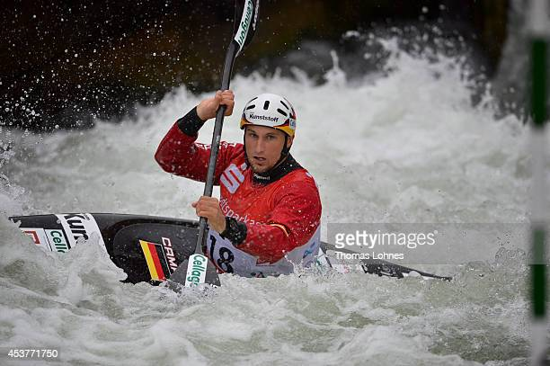 Alexander Grimm of Germany competes a qualifacation heat at the Kayak Men on August 15 2014 in Augsburg Germany