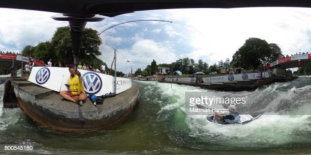 Alexander Grimm of Germany competes during the Kayak Men's Semifinal of the ICF Canoe Slalom World Cup on June 24 2017 in Augsburg Germany