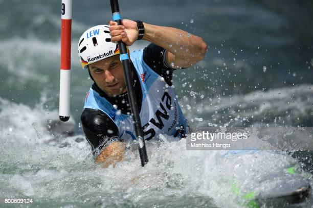 Alexander Grimm of Germany competes during the Kayak Single Men's Final of the ICF Canoe Slalom World Cup on June 24 2017 in Augsburg Germany