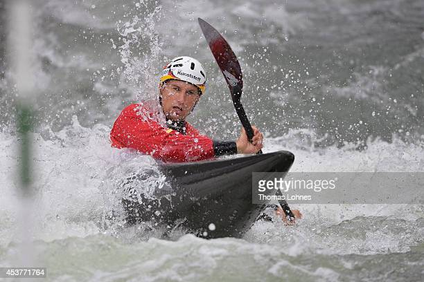 Alexander Grimm of Germany competes the semifinal heat at the Kayak Men on August 16 2014 in Augsburg Germany