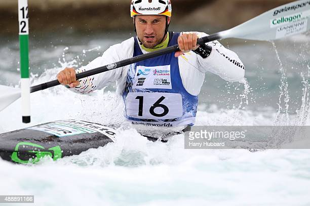 Alexander Grimm of Germany in action during the 1st Run Kayak men at Lee Valley White Water Centre at Lee Valley White Water Centre on September 18...