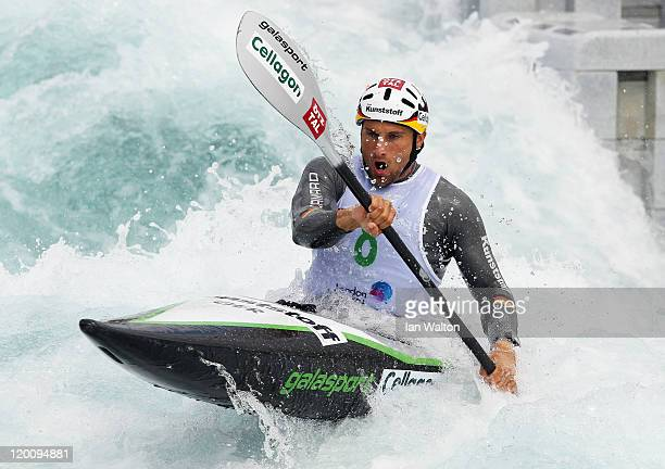 Alexander Grimm of Germany in action on the K1 Kayak Slalom at Lee Valley White Water Centre on July 30 2011 in London England