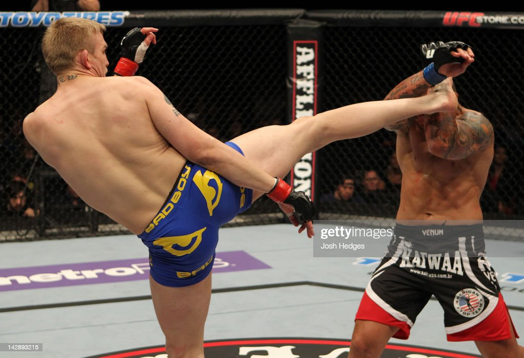 Alexander Gustafsson kicks Thiago Silva during their light heavyweight bout at the UFC on Fuel TV event at Ericsson Globe on April 14, 2012 in Stockholm, Sweden.