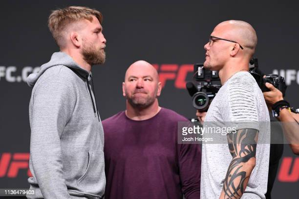 Alexander Gustafsson of Sweden and Anthony Smith face off during the UFC Seasonal Press Conference inside State Farm Arena on April 12 2019 in...
