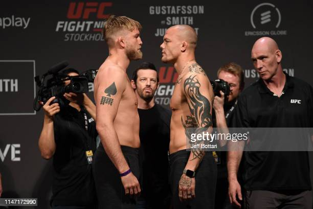 Alexander Gustafsson of Sweden and Anthony Smith face off during the UFC Fight Night weigh-in at Ericsson Globe on May 31, 2019 in Stockholm, Sweden.