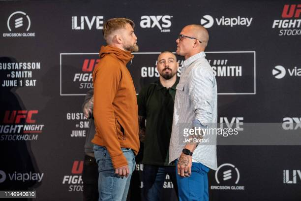 Alexander Gustafsson of Sweden and Anthony Smith face off for the media during the UFC Fight Night Ultimate Media Day at Ericsson Globe Arena on May...