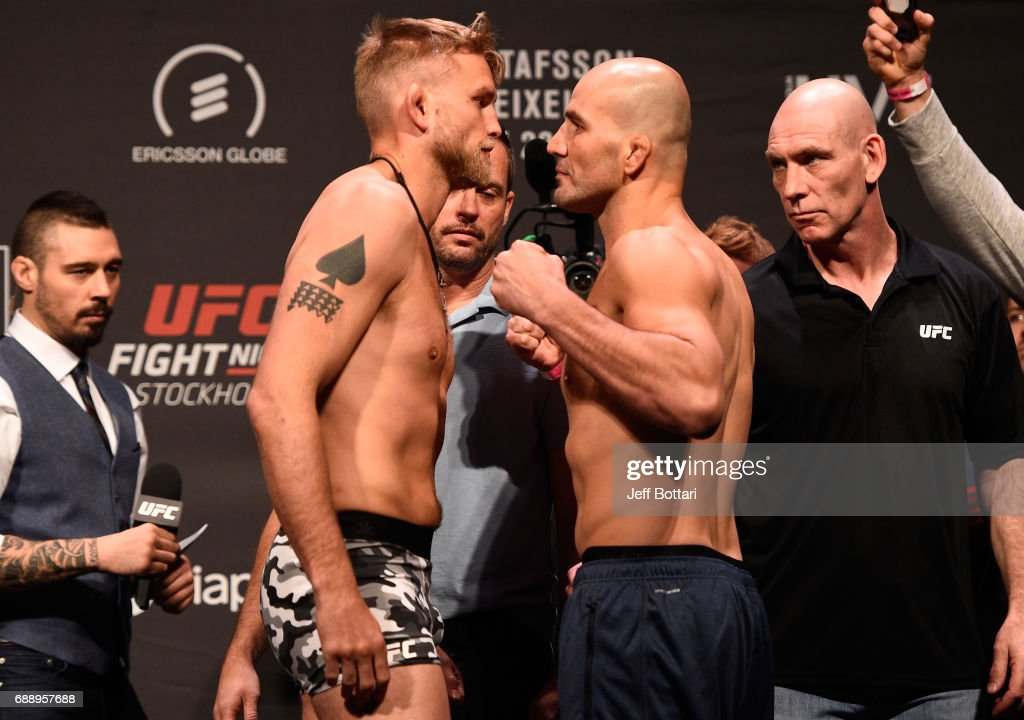 Alexander Gustafsson of Sweden and Glover Teixeira of Brazil face off during the UFC Fight Night weigh-in inside Ericsson Globe on May 27, 2017 in Stockholm, Sweden.