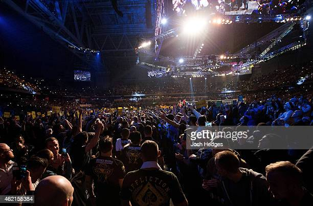 Alexander Gustafsson of Sweden enters the arena before his light heavyweight bout against Anthony Johnson of the United States during the UFC Fight...