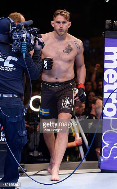 Alexander Gustafsson of Sweden enters the Octagon before his light heavyweight bout against Anthony Johnson of the United States during the UFC Fight...