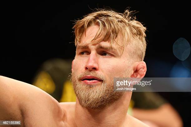 Alexander Gustafsson of Sweden is introduced before his light heavyweight bout against Anthony Johnson of the United States during the UFC Fight...