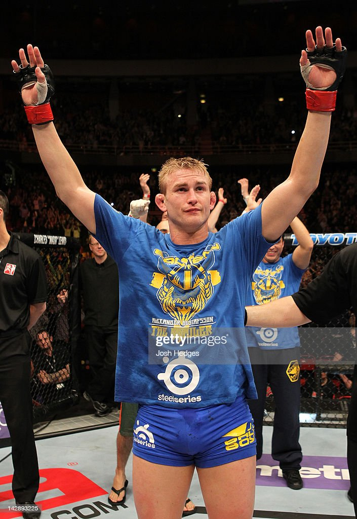 Alexander Gustafsson of Sweden reacts after defeating Thiago Silva by decision at the UFC on Fuel TV event at Ericsson Globe on April 14, 2012 in Stockholm, Sweden.
