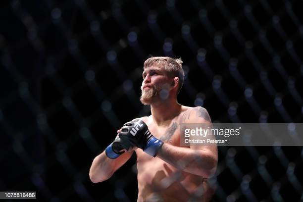 Alexander Gustafsson of Sweden stands in his corner prior to facing Jon Jones in their light heavyweight bout during the UFC 232 event inside The...