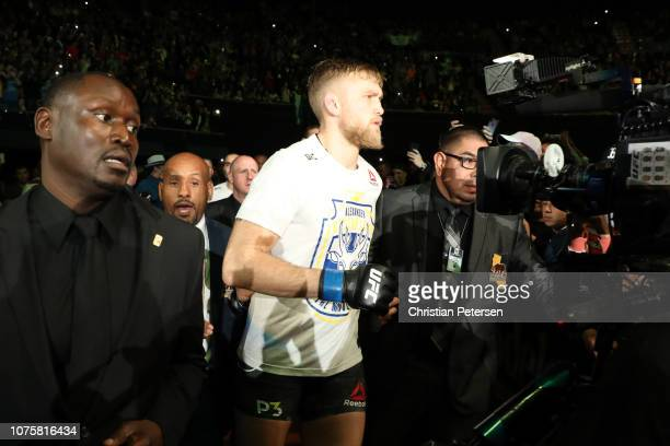 Alexander Gustafsson of Sweden walks towards the Octagon prior to facing Jon Jones in their light heavyweight bout during the UFC 232 event inside...