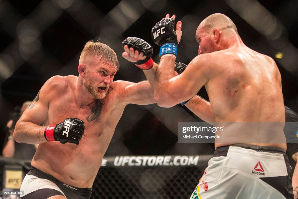 Alexander Gustafsson strikes at Golver Teixeira during the UFC Fight Night event at Ericsson Globe on May 28, 2017 in Stockholm, Sweden.