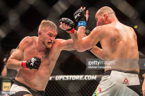 Alexander Gustafsson strikes at Golver Teixeira during the UFC Fight Night event at Ericsson Globe on May 28 2017 in Stockholm Sweden