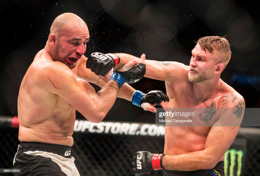 Alexander Gustafsson strikes Golver Teixeira during the UFC Fight Night event at Ericsson Globe on May 28, 2017 in Stockholm, Sweden.